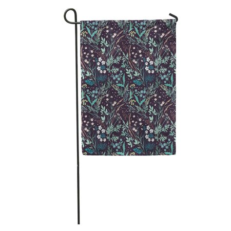 LADDKE Tiny Meadow Wildflowers Pattern Floral Elegant for Flowers and Herbs Dark Violet Garden Garden Flag Decorative Flag House Banner 12x18 inch