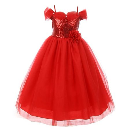 Red Tulle Dress (Little Girls Red Baby Sequin Glitter Off-Shoulder Tulle Christmas)