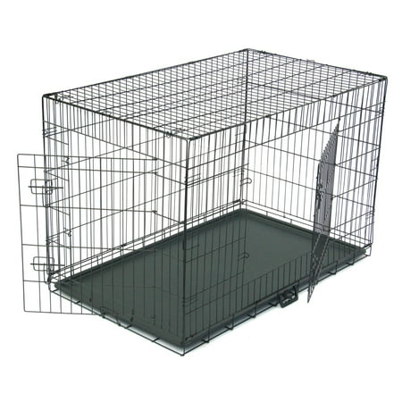 Dog Crate for Medium Dogs, Fully Equipped Dog Crate Single Door & Double Door Folding Metal Dog Crates, 2 Door Great Crate with Precision Lock System Wire Dog Crate, 5 Sizes, Black, S10393 Complete Dog Kennel System