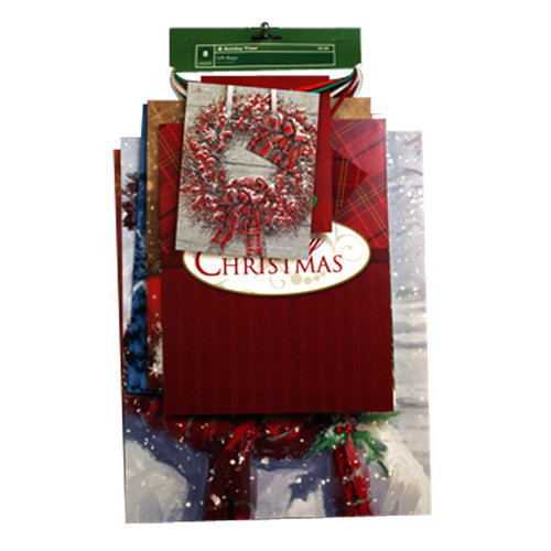 Holiday Time 8ct Gift Bag Value Pack, Traditional Wreath