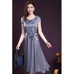 Women Silk Printed Top Bow Waist Prom Night Dress Gray