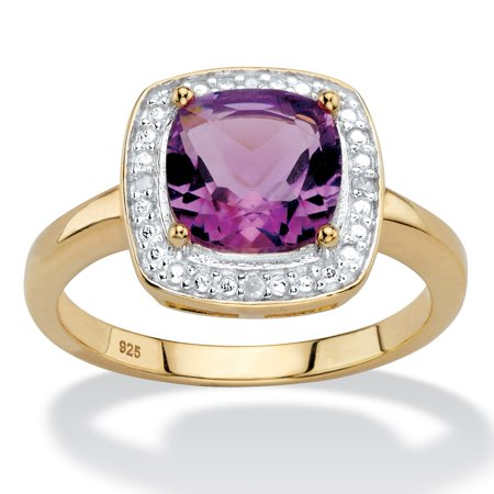 1.82 TCW Genuine Cushion-Cut Purple Amethyst and Diamond Accent Pave-Style Halo Ring in 14k Yellow Gold over Sterling Silver Genuine Amethyst Gemstone Ring