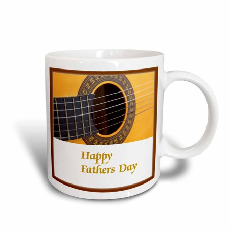 3dRose Print of Happy Fathers Day With Guitar Close Up - Ceramic Mug, 11-ounce (Day Ceramic)