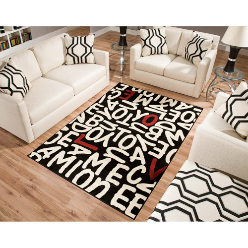 Terra Love Rectangle Area Rug Black