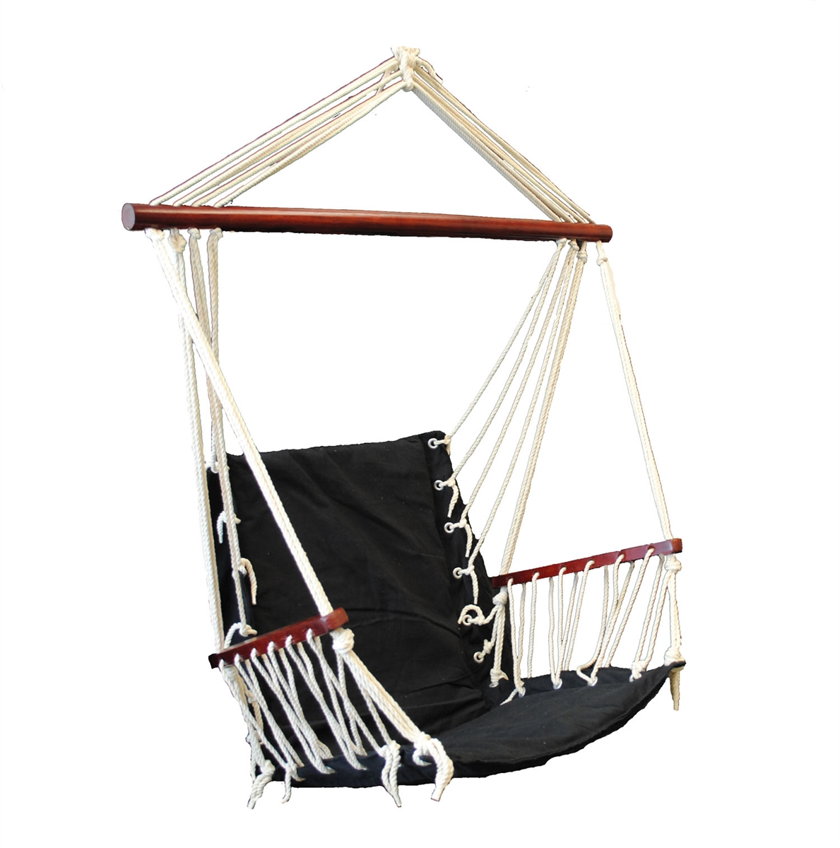 OMNI Patio Swing Seat Hanging Hammock Cotton Rope Chair With Cushion Seat - Black
