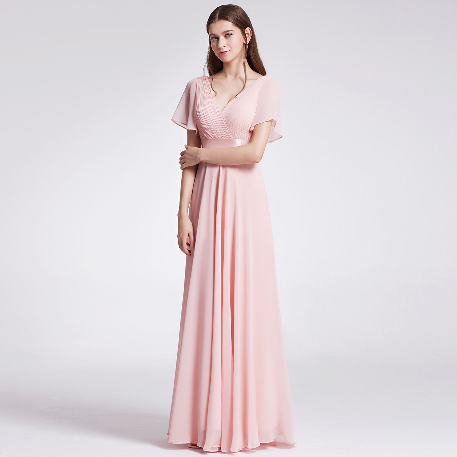 Ever-Pretty Womens Formal Evening Floor-Length Short Sleeve Mother of the Bride Maxi Dresses for Women 09890 Pink US 4