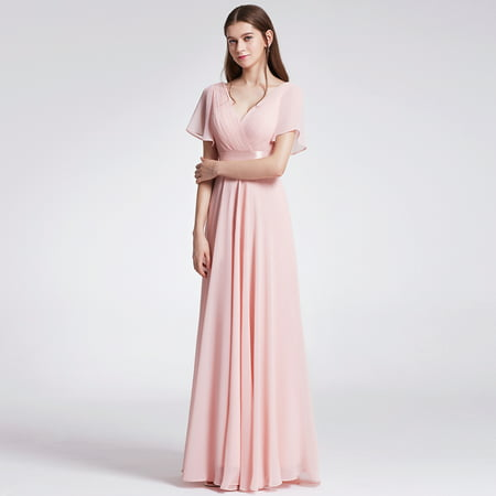 Ever-Pretty Womens Formal Evening Floor-Length Short Sleeve Mother of the Bride Maxi Dresses for Women 09890 Pink (Beaded Taffeta Evening Dress)
