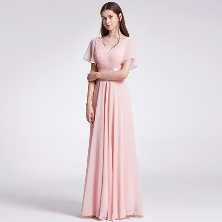Semi Formal Themes (Ever-Pretty Womens Formal Evening Floor-Length Short Sleeve Mother of the Bride Maxi Dresses for Women 09890 Pink)