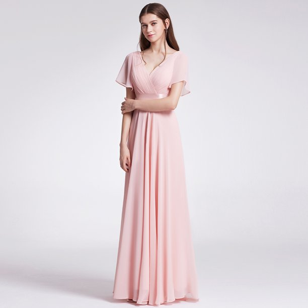 pink dresses for women : Ever-Pretty Womens Formal Evening Floor-Length Short Sleeve Mother of the Bride Maxi Dresses for Women 09890 Pink US4