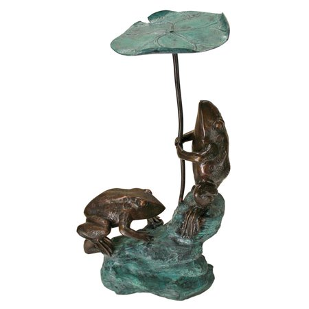 Bronze Frogs Lily Pad - Design Toscano Lily Pad Umbrella Frogs Solid Cast Bronze Garden Statue