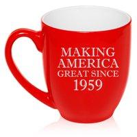 16 oz Large Bistro Mug Ceramic Coffee Tea Glass Cup Making America Great Since 1959 60th Birthday (Red)