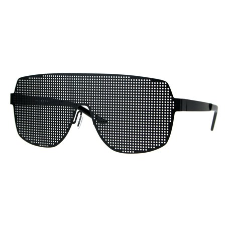 Disco Mesh Shield Lens All Metal Futuristic Robotic Sunglasses (All Gold Sunglasses)