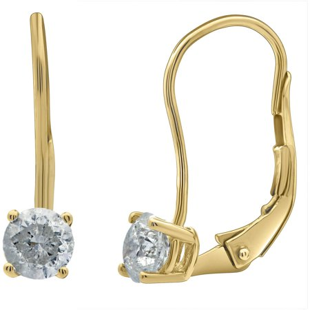 1/2 Carat T.W. Round Diamond 14kt Yellow Gold Leverback Stud Earrings with Gift Box, IGL Certified