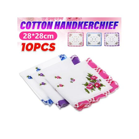 10pcs Floral Flowers Cotton Handkerchief Vintage Ladies Women Pocket Quadrate Hanky -