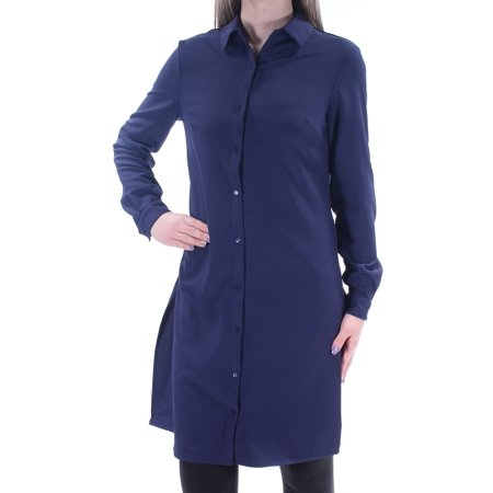 GRACE ELEMENTS Womens Navy Cuffed Collared Above The Knee Shirt Dress Dress  Size: (Navy Dress With White Collar And Cuffs)