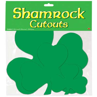 Assorted Size Shamrock Cutouts 9pc 2-Sided Green St Patricks Day Party Decor