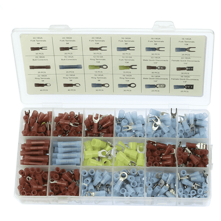 510Pcs Semi Transparent Nylon Insulated Assorted Electrical Wiring Connectors Terminals Kits