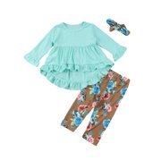 Wassery Baby Girls Long Sleeve Dress Pants with Floral Headband Outfit Set Green