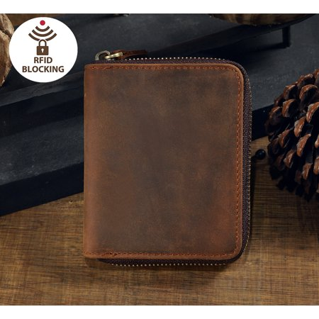 Men's RFID Blocking Leather Zipper Around Wallet Travel ID Card Window, Genuine Leather Bifold Wallet Zip-Around Card Multi Holder Money Clip-Gift (Wrap Around Zipper)