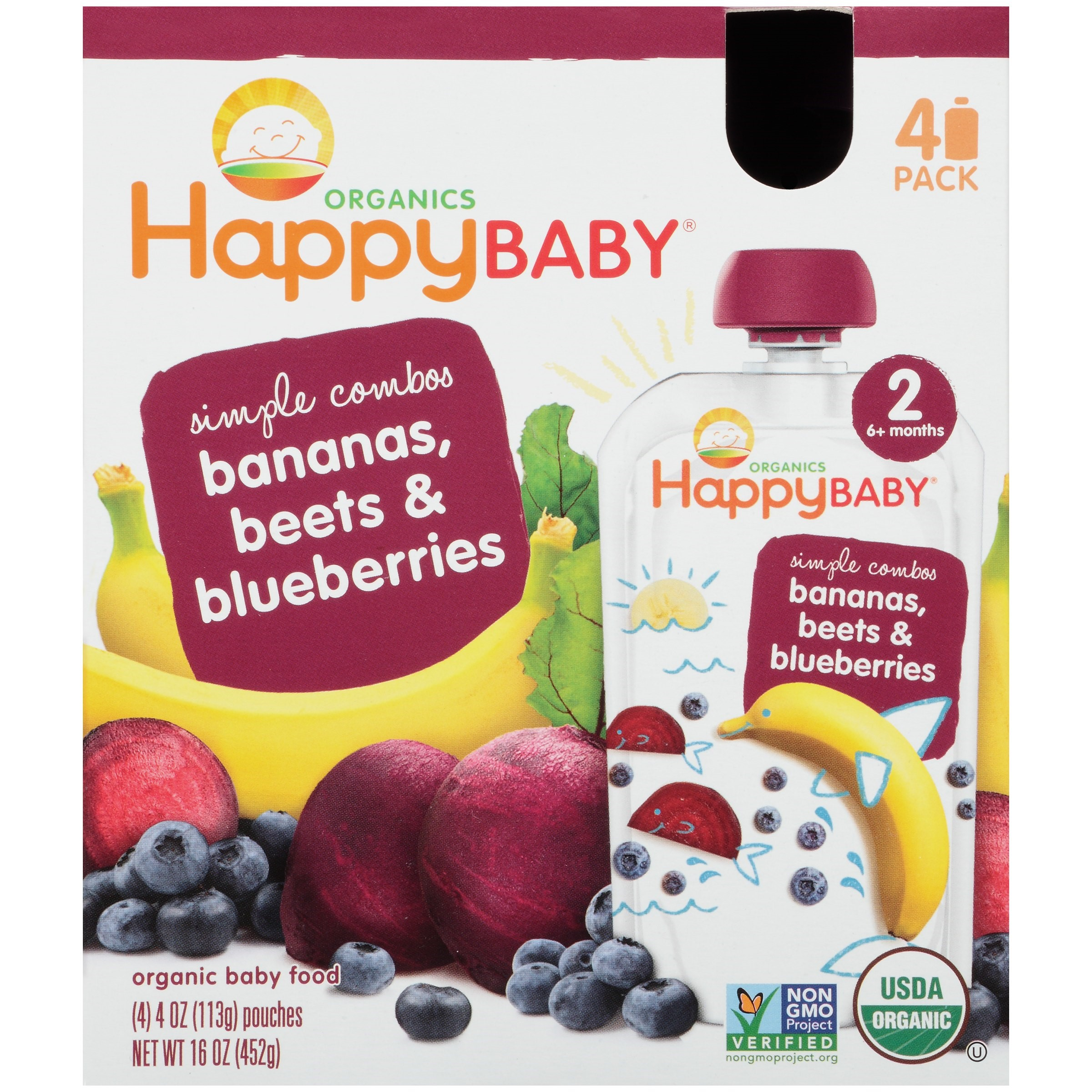 Happy Baby Food - Organic - Simple Combos - Bananas Beets and Blueberries - 6 Plus Months - Stage 2 - 3.5 oz - 16 Pack