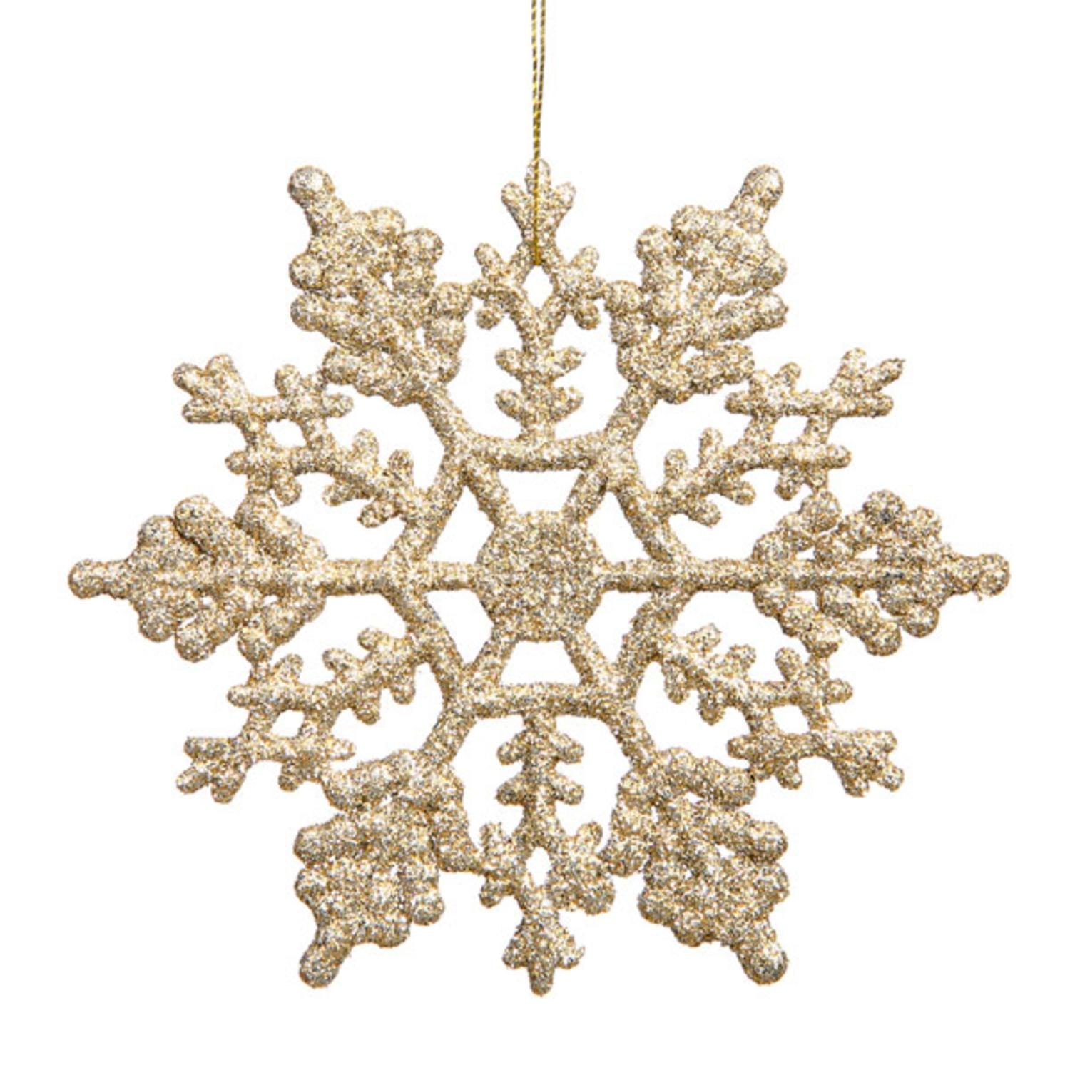 Club Pack of 24 Shimmering Champagne Glitter Snowflake Christmas Ornaments 3.75""