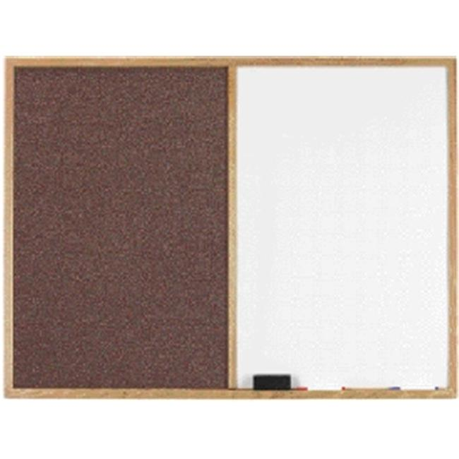 AARCO Products FCO4872M Oak Frame Combination Fabric Tack Board-Melamine Markerboard