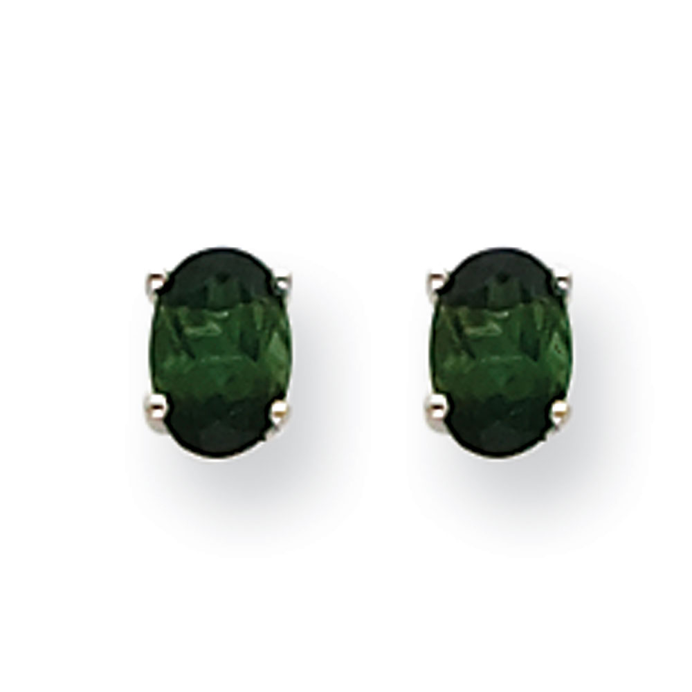 14k White Gold Green Tourmaline Earrings .94 cwt by Kevin Jewelers