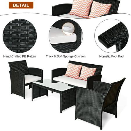 Costway 4PCS Patio Rattan Furniture Conversation Set Cushioned Sofa Table Garden Black - image 3 of 9