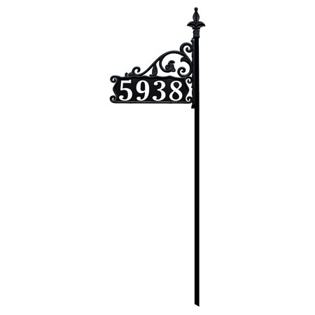 Boardwalk Reflective 911 Home Address Sign For Yard Custom Made Plaque Wrought Iron Look Exclusively By America 48 Pole Deco Font