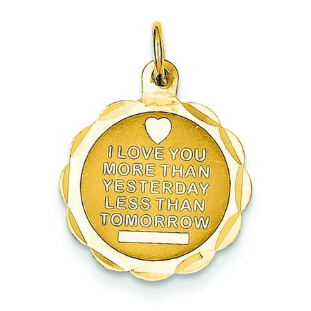 14K Gold I Love You More Than Yesterday Charm Pendant (More Than Gold)