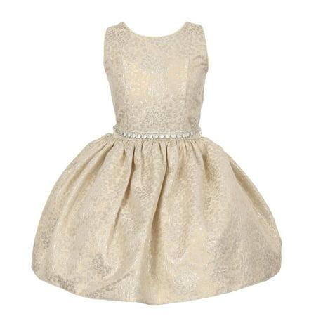 Little Girls Ivory Jacquard Shiny Print Beaded Belt Flower Girl Dress 2T