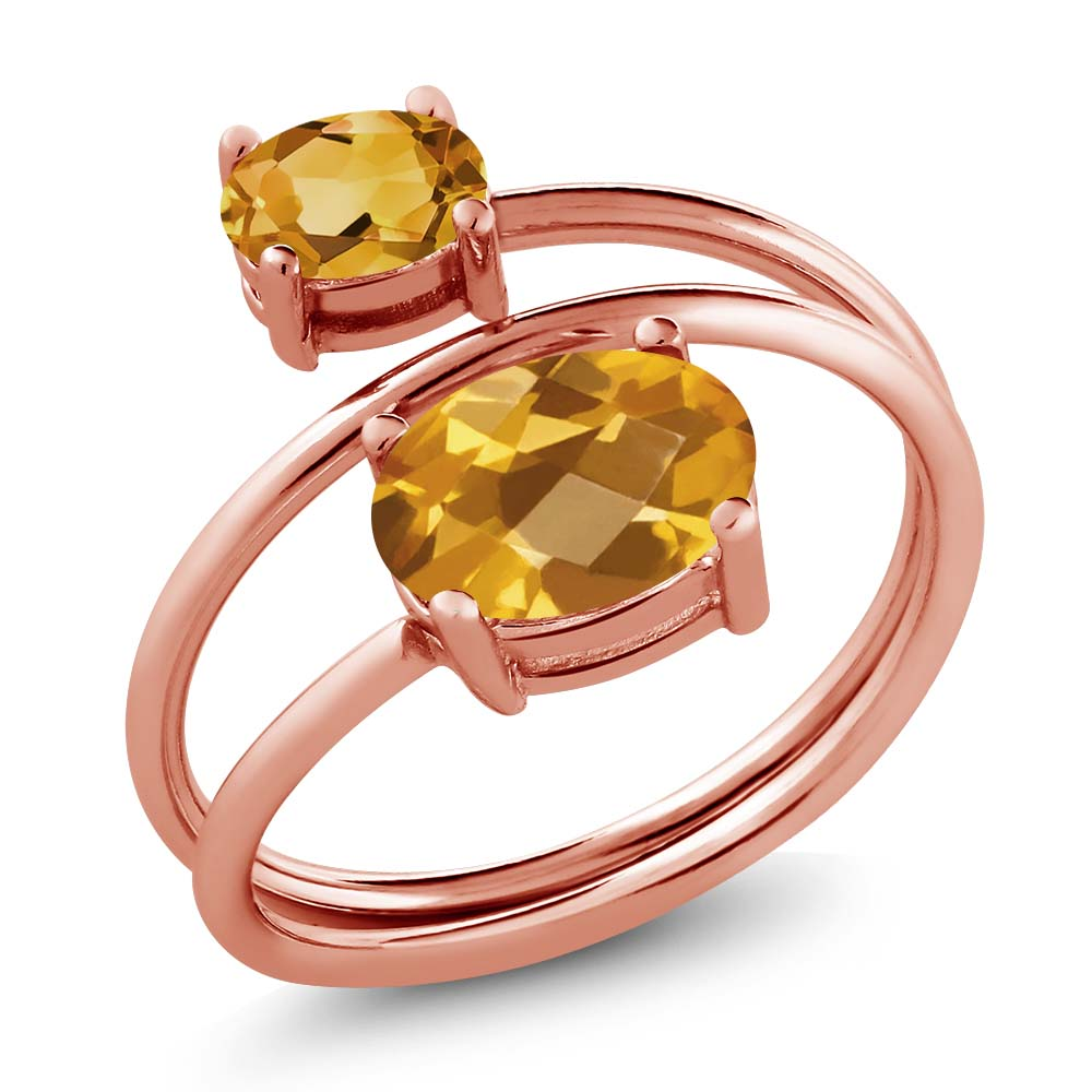 2.05 Ct Oval Checkerboard Yellow Citrine 18K Rose Gold Plated Silver Ring