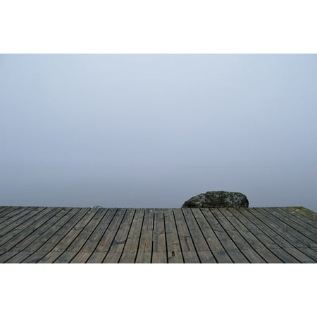 Canvas Print Quay Pier Mist Fog Wood Boards Mystery Dock Stretched Canvas 10 x 14