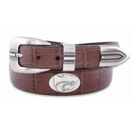 ZeppelinProducts KSU-BOLPTCRC-TAN-44 Kansas State Concho Croc Tan Leather Belt, 44 Waist - image 1 of 1
