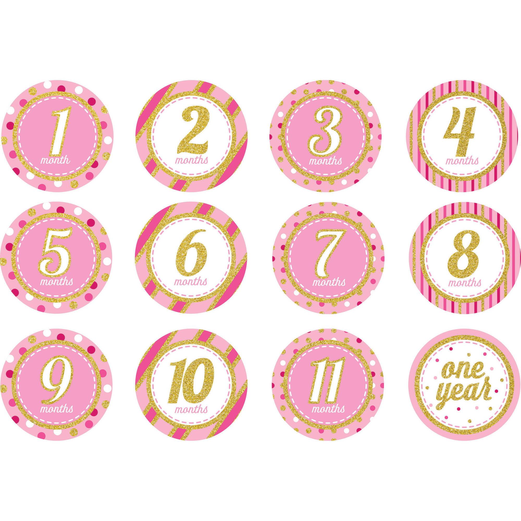 1st Birthday Girl Countdown Stickers, 12 pk