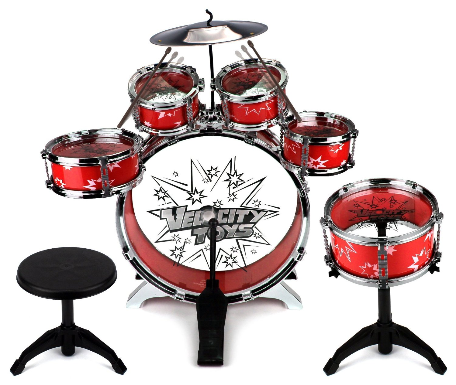 Toy Drum Set For Children 11 Piece Kids Musical Instrument Playset W 6 Drums Cymbal Chair Kick Pedal Drumsticks