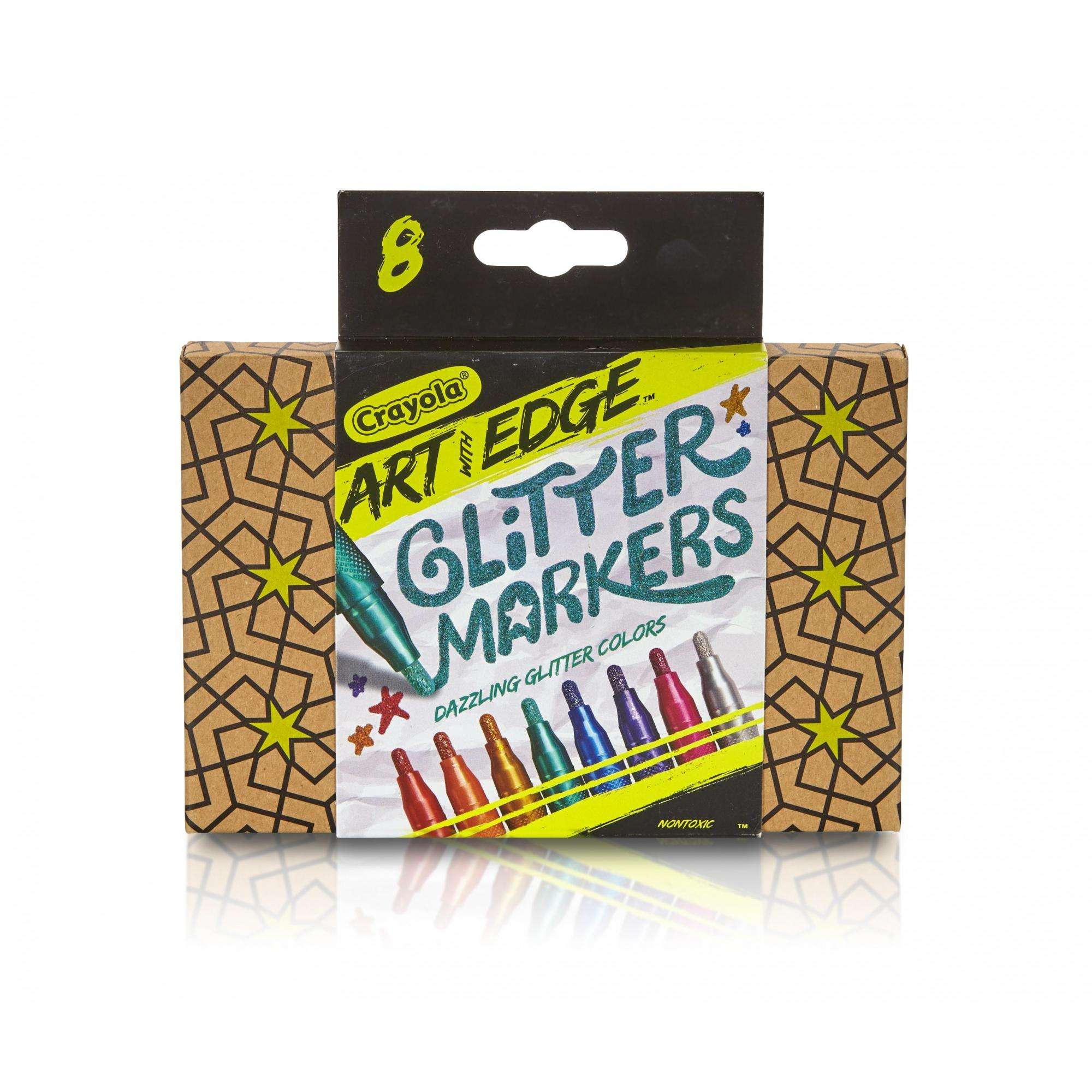 Crayola 8 Count Art with Edge Glitter Markers, Aged Up Coloring