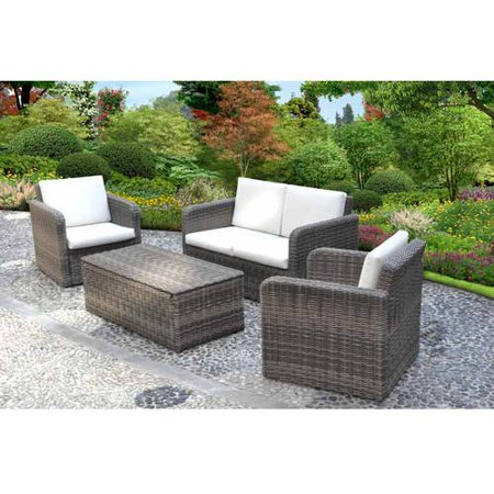 Better Homes And Gardens Whitehaven 4 Piece Woven Patio Conversation Set Seats 4