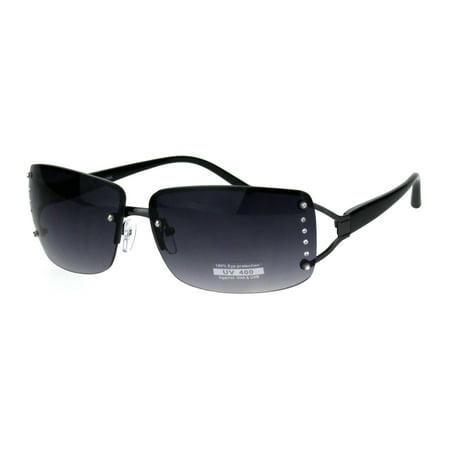 db71618aece9a SA106 - Womens Rhinestone Rimless Narrow Rectangle Luxury Designer  Sunglasses Gunmetal Smoke - Walmart.com