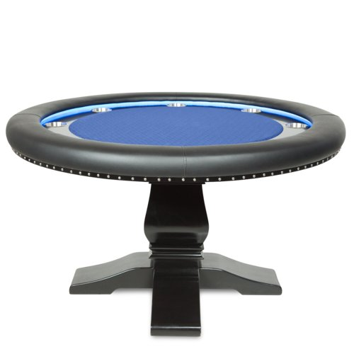 BBO Poker Blue Velveteen Ginza LED Poker & Dining Table With 4 Matching Dining Chairs by