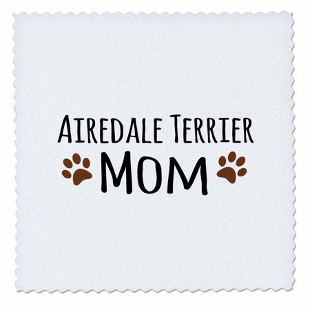 3dRose Airedale Terrier Dog Mom - breed-specific design with brown paw prints - doggie lovers - doggy love - Quilt Square, 10 by 10-inch Doggie Dog Quilt Bed