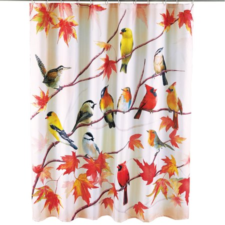 Beautiful Autumn Birds Shower Curtain Cardinals Chickadees Yellow Finches On Branches With Leaves
