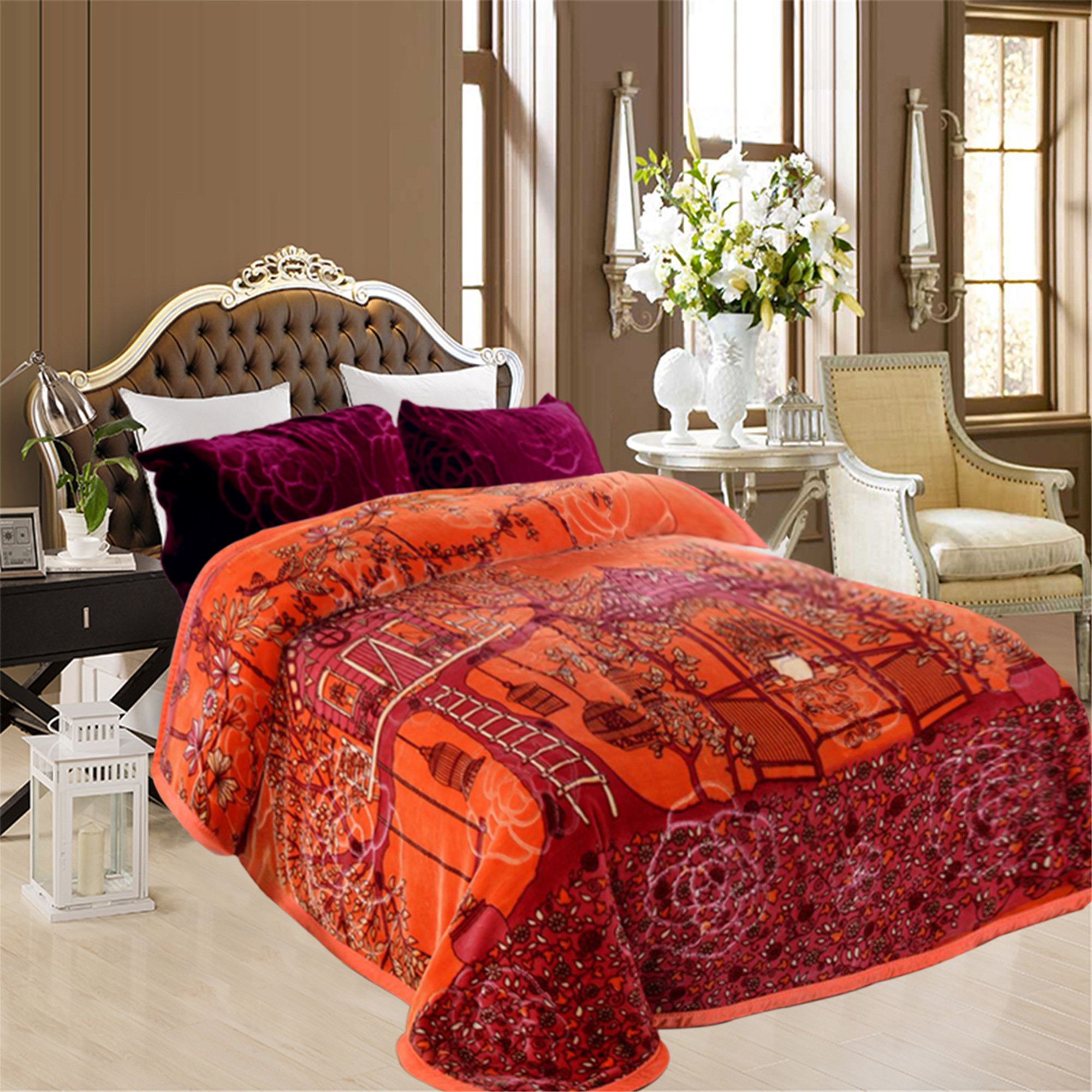 "Super Soft Plush Mink Bed Blanket 2 Ply Printed Fleece Blanket Queen 76""x85"""