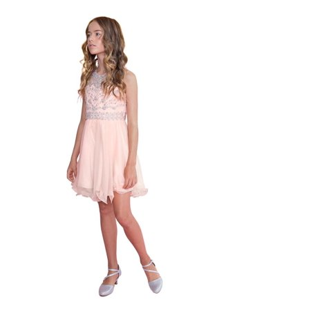 Calla Collection Girls Blush Jewel Short Special Occasion Tween Dress