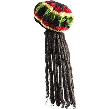 Rasta Hat with Dread lock Like Long Black Hair - Rasta Wig With Cap Costume  Accessory - Walmart.com 705cc4ded033