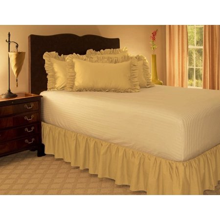 KING GOLD Solid Bed Bedding Skirt Soft 100% Soft Smooth Microfiber Pleated-Only on 4 - Yellow Bedskirt