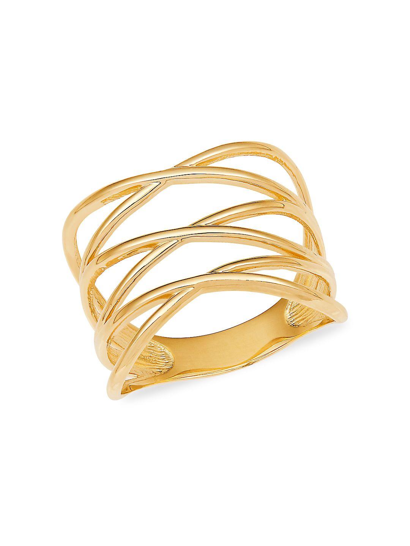 14K Yellow Gold Triple Crisscross Ring