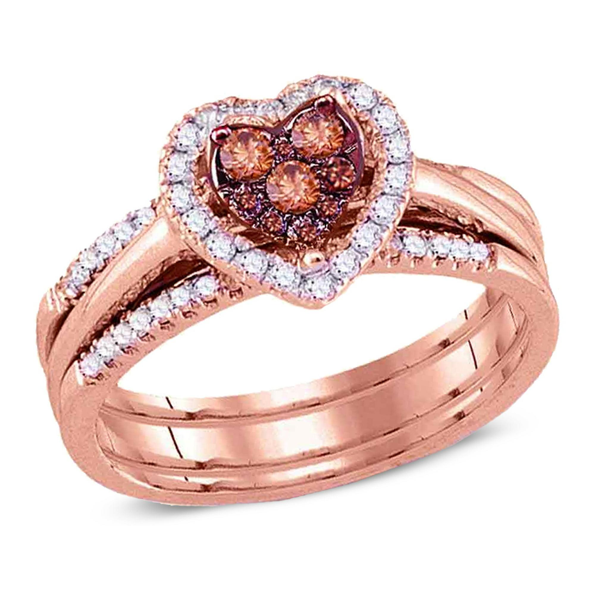 1 2 Carat I1 I2 Champagne Cognac Diamond Heart Engagement Ring