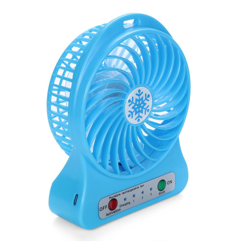 Womail® Portable Rechargeable LED Light Fan Air Cooler Mini Desk USB 18650 Battery Fan