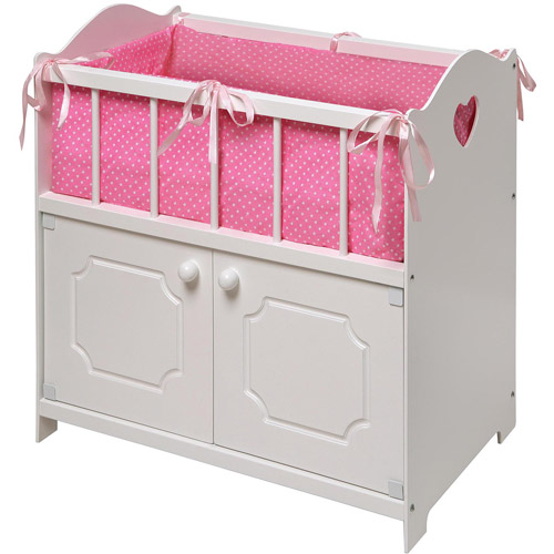 "Badger Basket White Storage Doll Crib with Bedding, Fits Most 18"" Dolls & My Life As"